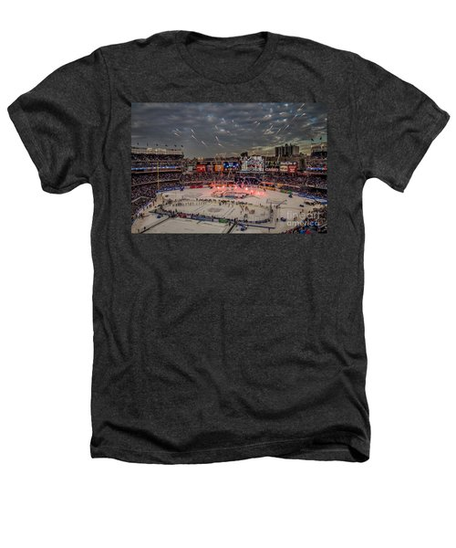 Hockey At Yankee Stadium Heathers T-Shirt by David Rucker
