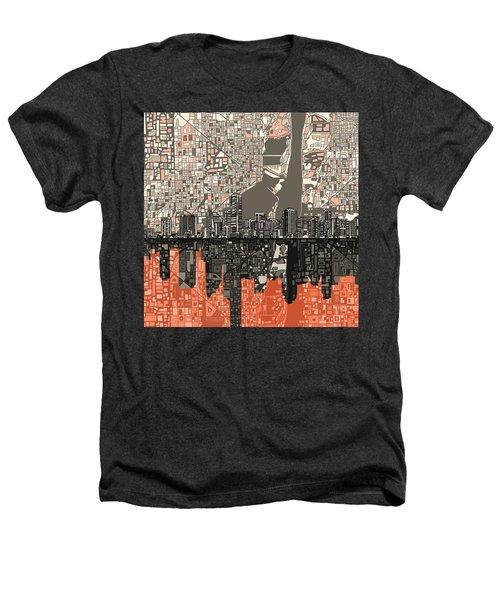 Miami Skyline Abstract 2 Heathers T-Shirt by Bekim Art