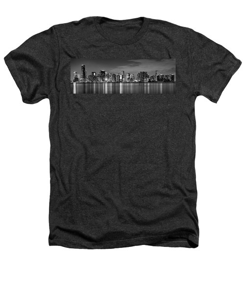 Miami Skyline At Dusk Black And White Bw Panorama Heathers T-Shirt by Jon Holiday