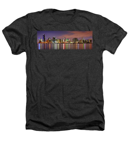 Miami Skyline At Dusk Sunset Panorama Heathers T-Shirt by Jon Holiday