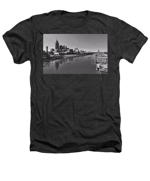 Nashville Skyline In Black And White At Day Heathers T-Shirt