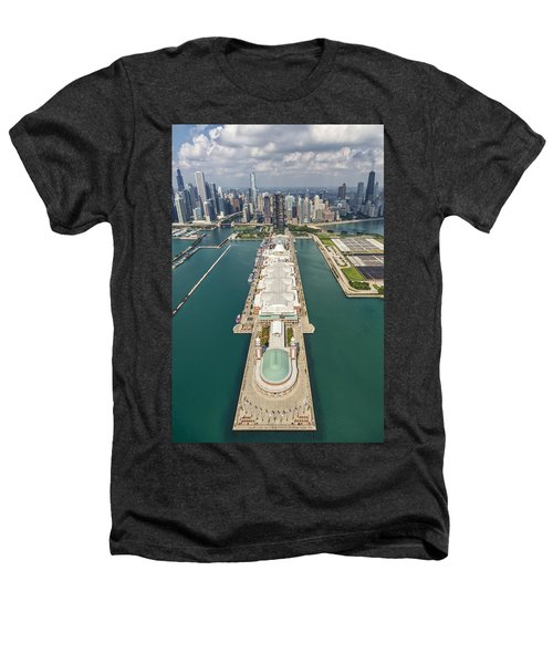 Navy Pier Chicago Aerial Heathers T-Shirt by Adam Romanowicz