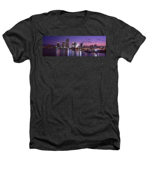 Night Skyline Miami Fl Usa Heathers T-Shirt