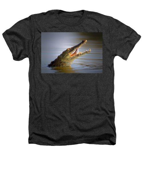 Nile Crocodile Swollowing Fish Heathers T-Shirt