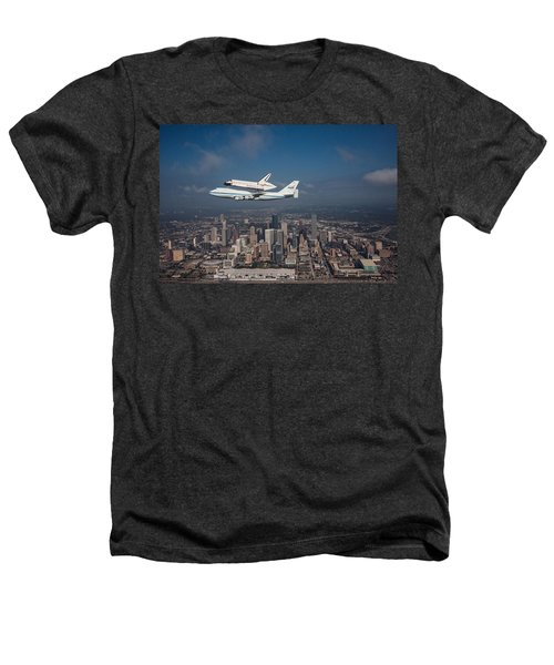 Space Shuttle Endeavour Over Houston Texas Heathers T-Shirt