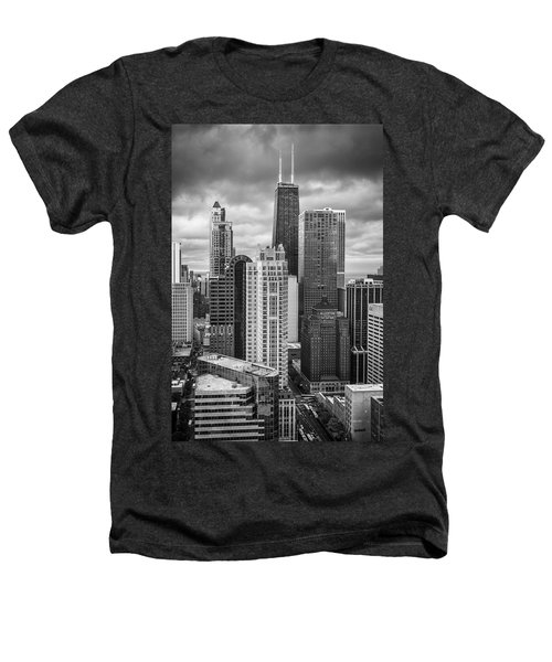 Streeterville From Above Black And White Heathers T-Shirt by Adam Romanowicz
