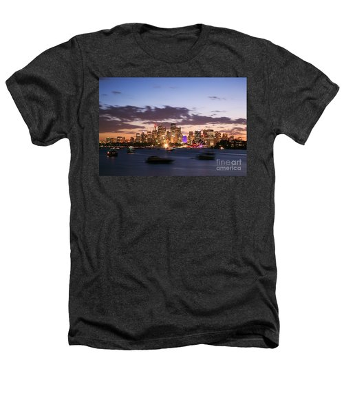 Sydney Skyline At Dusk Australia Heathers T-Shirt by Matteo Colombo
