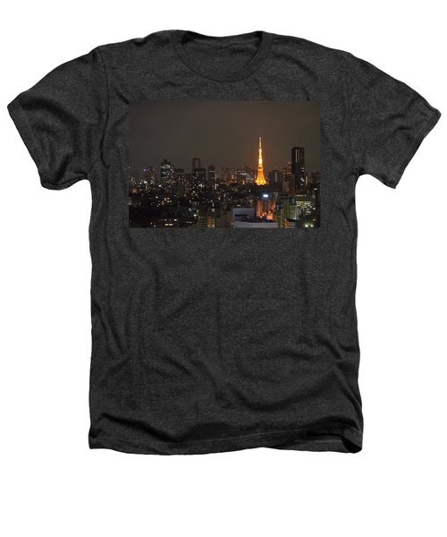 Tokyo Skyline At Night With Tokyo Tower Heathers T-Shirt by Jeff at JSJ Photography