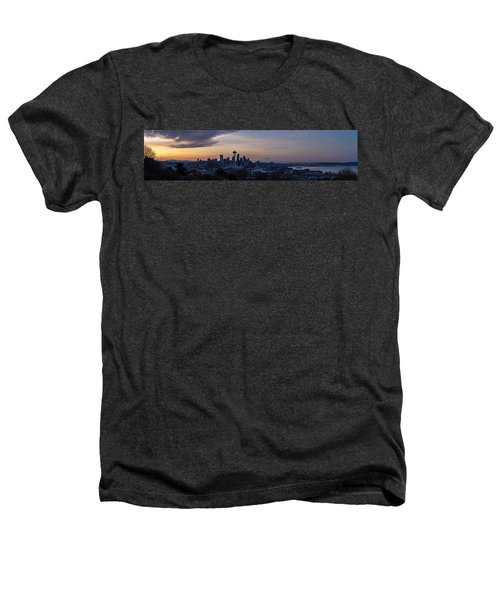 Wide Seattle Morning Skyline Heathers T-Shirt by Mike Reid