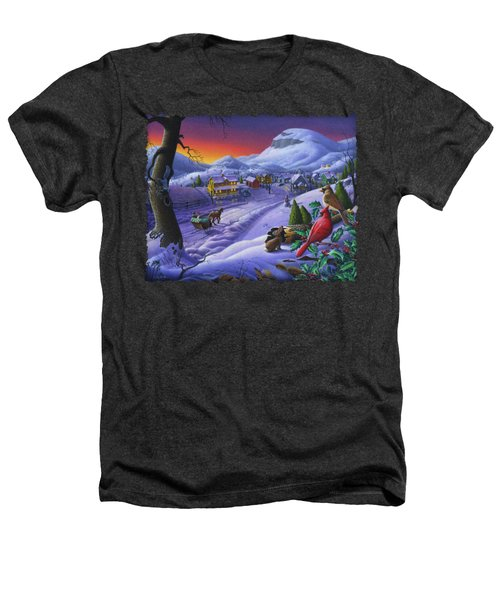Christmas Sleigh Ride Winter Landscape Oil Painting - Cardinals Country Farm - Small Town Folk Art Heathers T-Shirt