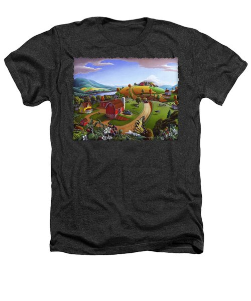 Folk Art Blackberry Patch Rural Country Farm Landscape Painting - Blackberries Rustic Americana Heathers T-Shirt