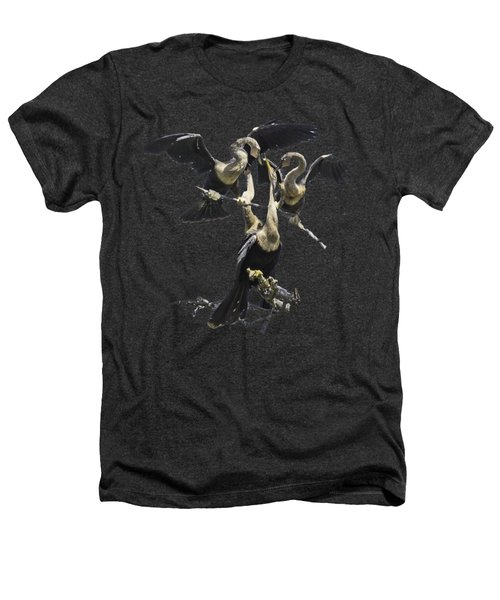 Anhinga Feeding Time Transparency Heathers T-Shirt by Richard Goldman