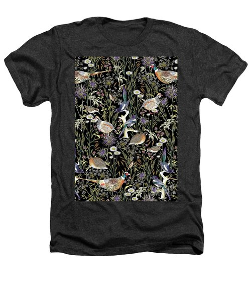 Woodland Edge Birds Heathers T-Shirt by Jacqueline Colley