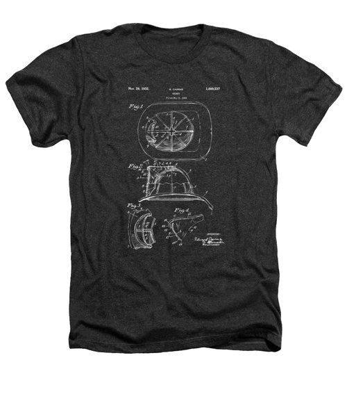 1932 Fireman Helmet Artwork - Gray Heathers T-Shirt by Nikki Marie Smith