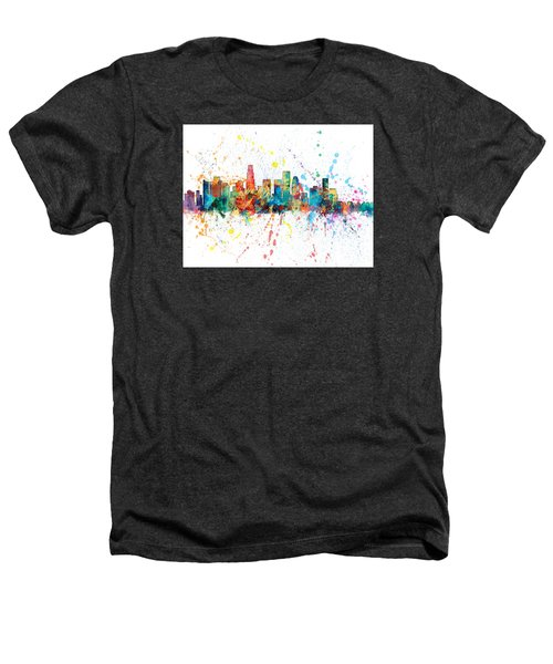 Los Angeles California Skyline Heathers T-Shirt by Michael Tompsett