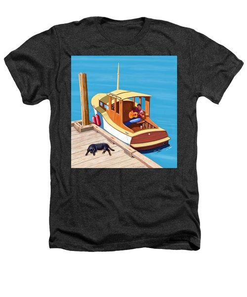 A Man, A Dog And An Old Boat Heathers T-Shirt