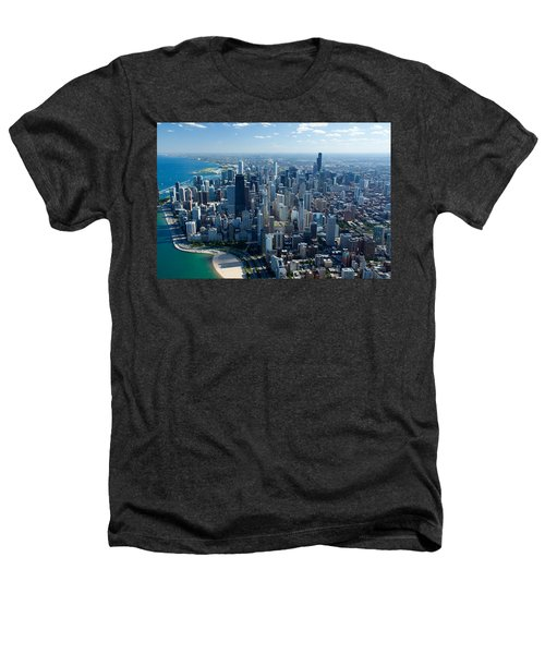 Aerial View Of A City, Lake Michigan Heathers T-Shirt by Panoramic Images
