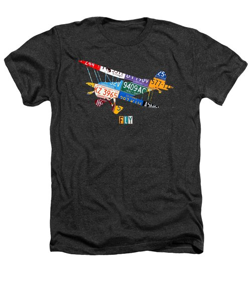 Airplane Vintage Biplane Silhouette Shape Recycled License Plate Art On Blue Barn Wood Heathers T-Shirt