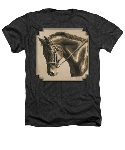 Horse Painting - Focus In Sepia Heathers T-Shirt by Crista Forest