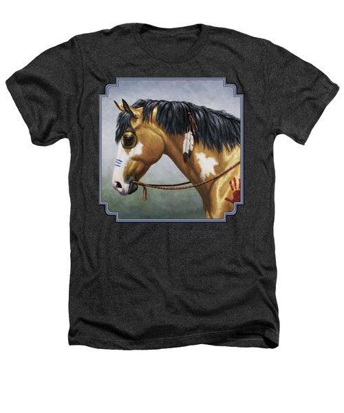 Buckskin Native American War Horse Heathers T-Shirt by Crista Forest