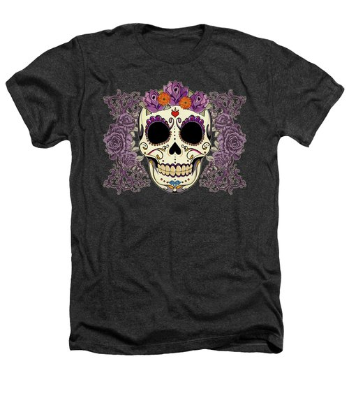 Vintage Sugar Skull And Roses Heathers T-Shirt by Tammy Wetzel