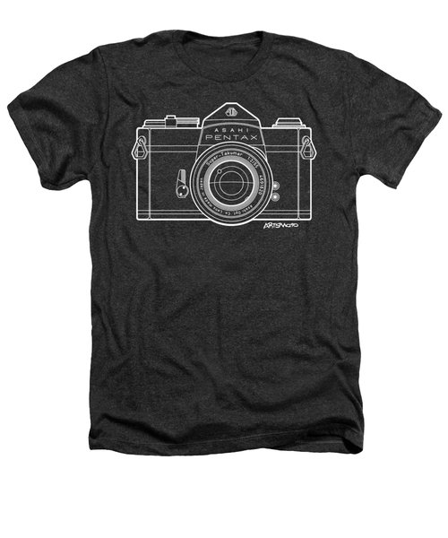 Asahi Pentax 35mm Analog Slr Camera Line Art Graphic White Outline Heathers T-Shirt