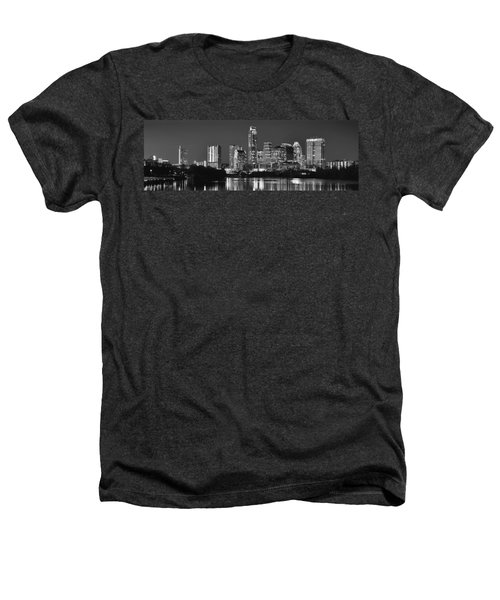 Austin Skyline At Night Black And White Bw Panorama Texas Heathers T-Shirt by Jon Holiday