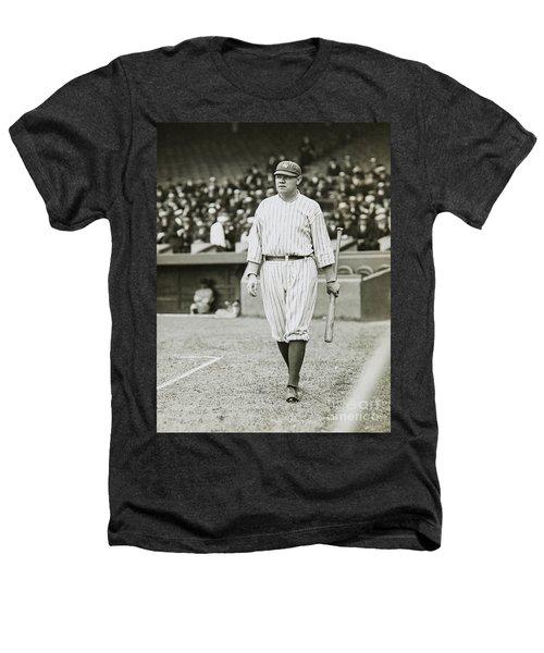 Babe Ruth Going To Bat Heathers T-Shirt by Jon Neidert
