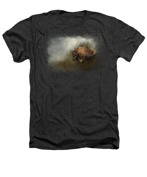 Bison After The Mud Bath Heathers T-Shirt by Jai Johnson