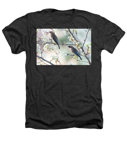 Cedar Wax Wing Pair Heathers T-Shirt by Jim Fillpot