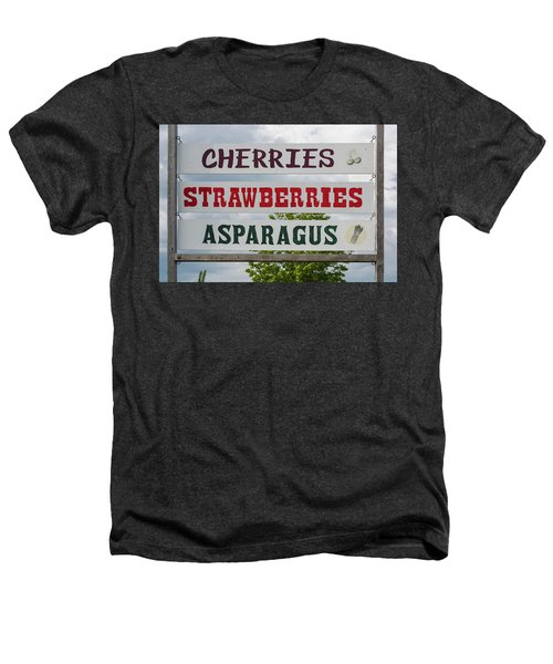 Cherries Strawberries Asparagus Roadside Sign Heathers T-Shirt by Steve Gadomski