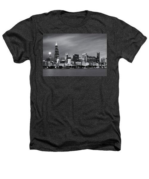Chicago Skyline At Night Black And White  Heathers T-Shirt by Adam Romanowicz