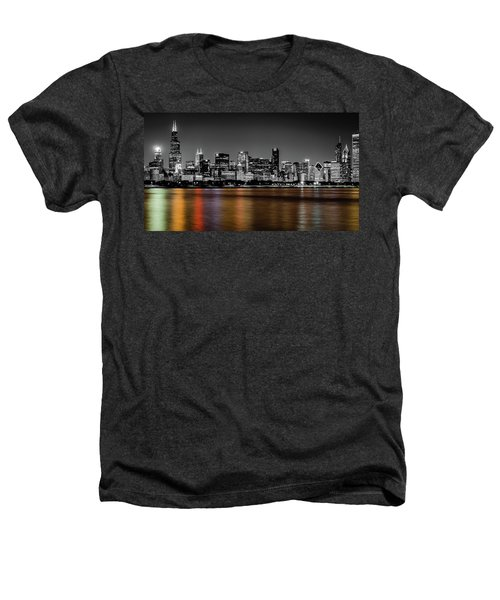 Chicago Skyline - Black And White With Color Reflection Heathers T-Shirt