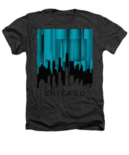Chicago Turqoise Vertical Heathers T-Shirt by Alberto RuiZ