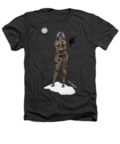 Cool 3d Girl With Bling And Tattoos In Black Heathers T-Shirt