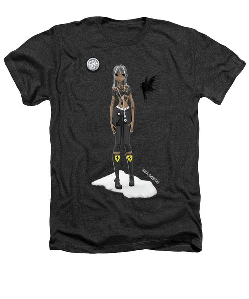 Cool 3d Manga  Girl With Bling And Tattoos In Black Heathers T-Shirt
