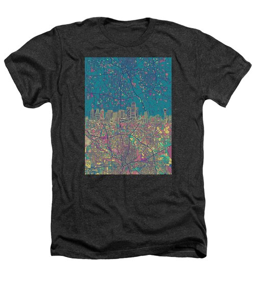 Dallas Skyline Map Green Heathers T-Shirt