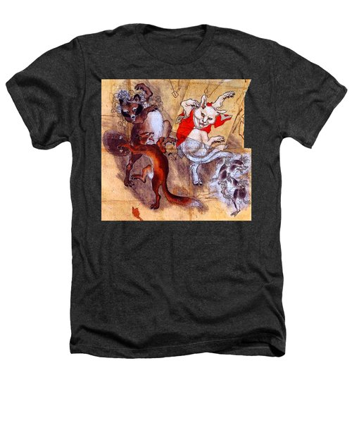Japanese Meiji Period Dancing Feral Cat With Wild Animal Friends Heathers T-Shirt by Peter Gumaer Ogden Collection