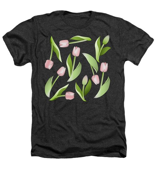 Elegant Chic Pink Tulip Floral Patten Heathers T-Shirt by Wind-Up Sprout Design
