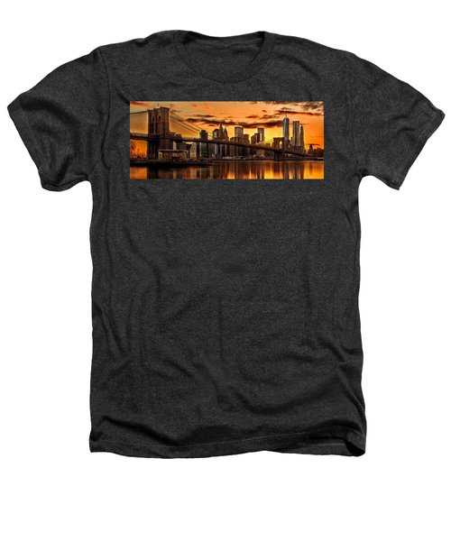 Fiery Sunset Over Manhattan  Heathers T-Shirt by Az Jackson