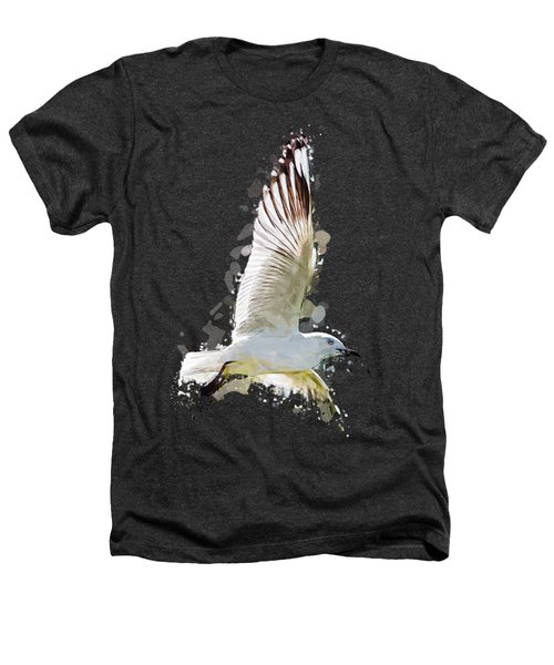Flying Seagull Abstract Sky Heathers T-Shirt by Elaine Plesser