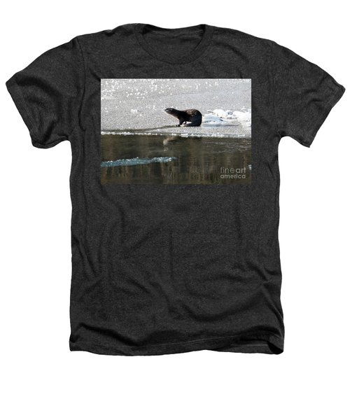 Frosty River Otter  Heathers T-Shirt by Mike Dawson