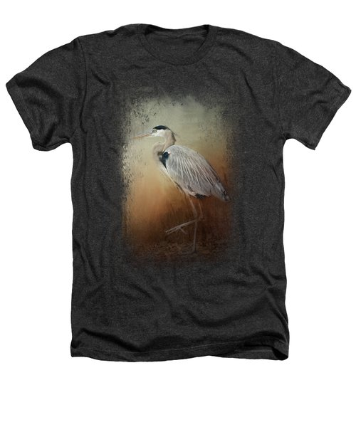 Heron At The Inlet Heathers T-Shirt by Jai Johnson