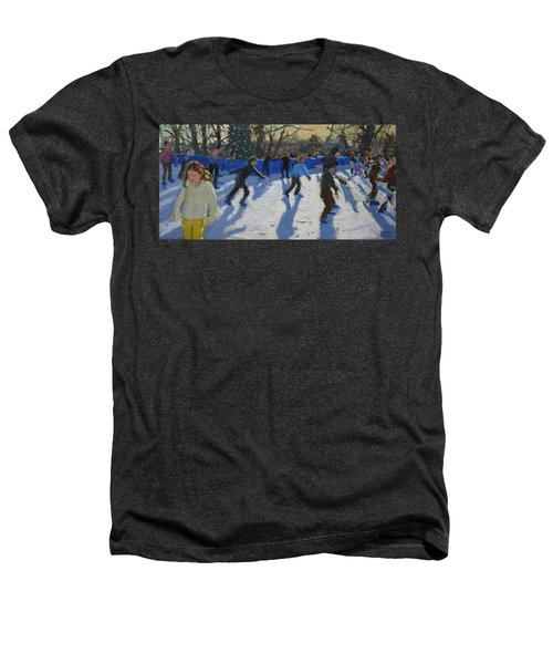 Ice Skaters At Christmas Fayre In Hyde Park  London Heathers T-Shirt by Andrew Macara