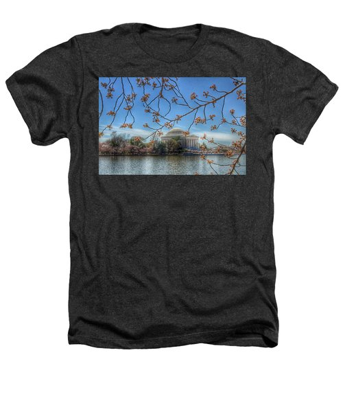 Jefferson Memorial - Cherry Blossoms Heathers T-Shirt by Marianna Mills
