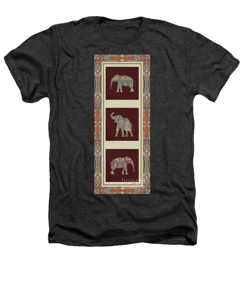 Kashmir Elephants - Vintage Style Patterned Tribal Boho Chic Art Heathers T-Shirt by Audrey Jeanne Roberts