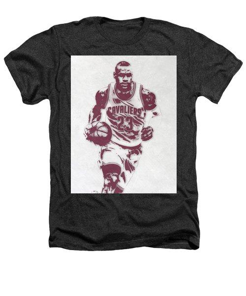 Lebron James Cleveland Cavaliers Pixel Art 4 Heathers T-Shirt by Joe Hamilton