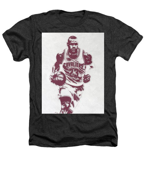 Lebron James Cleveland Cavaliers Pixel Art 4 Heathers T-Shirt