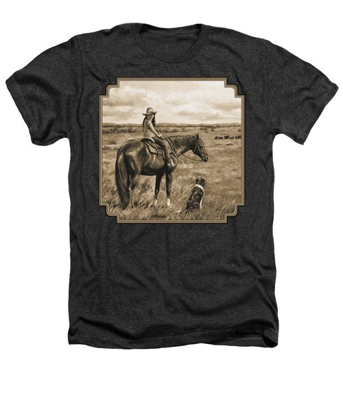 Little Cowgirl On Cattle Horse In Sepia Heathers T-Shirt