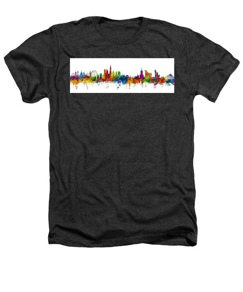 London And Warsaw Skylines Mashup Heathers T-Shirt